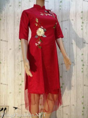 áo dài cách tân hoa đỏ ngày tết